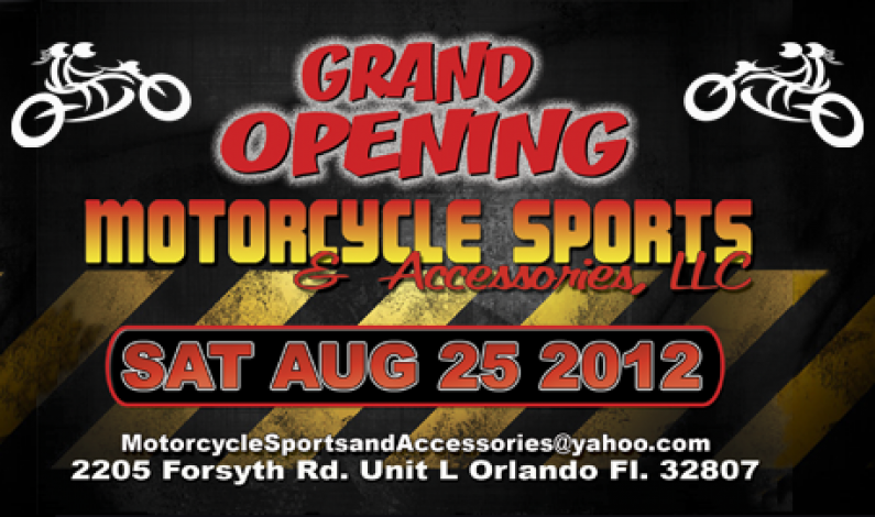 LIVE ! Grand Opening Motorcycle Sports & Accessories Saturday Aug 25