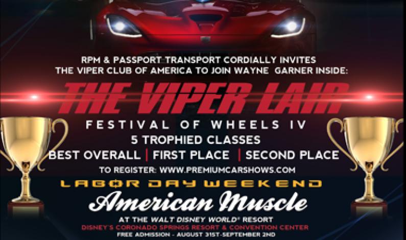 Muscle Car Weekend Aug to 30-Sept 1 @ Walt Disney World® Resort